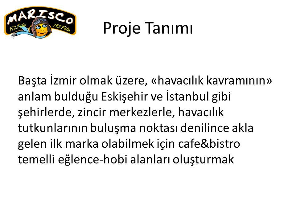 Proje Tanımı Başta İzmir olmak üzere, «havacılık kavramının» anlam bulduğu Eskişehir ve İstanbul gibi şehirlerde, zincir merkezlerle, havacılık tutkunlarının buluşma noktası denilince akla gelen ilk marka olabilmek için cafe&bistro temelli eğlence-hobi alanları oluşturmak