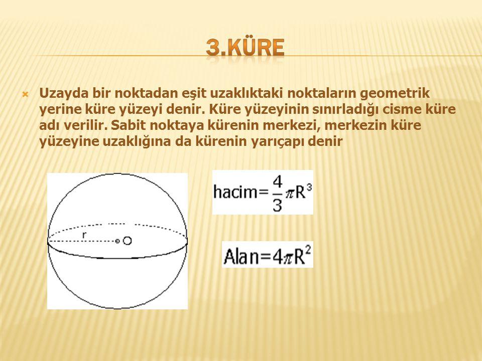  Uzayda bir noktadan eşit uzaklıktaki noktaların geometrik yerine küre yüzeyi denir. Küre yüzeyinin sınırladığı cisme küre adı verilir. Sabit noktaya