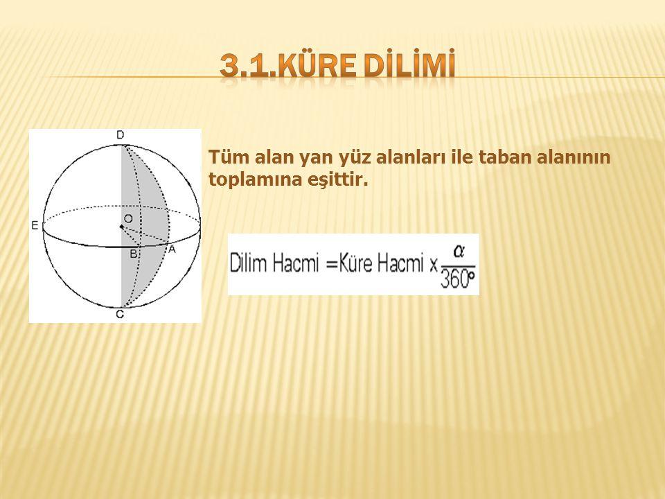 Tüm alan yan yüz alanları ile taban alanının toplamına eşittir.