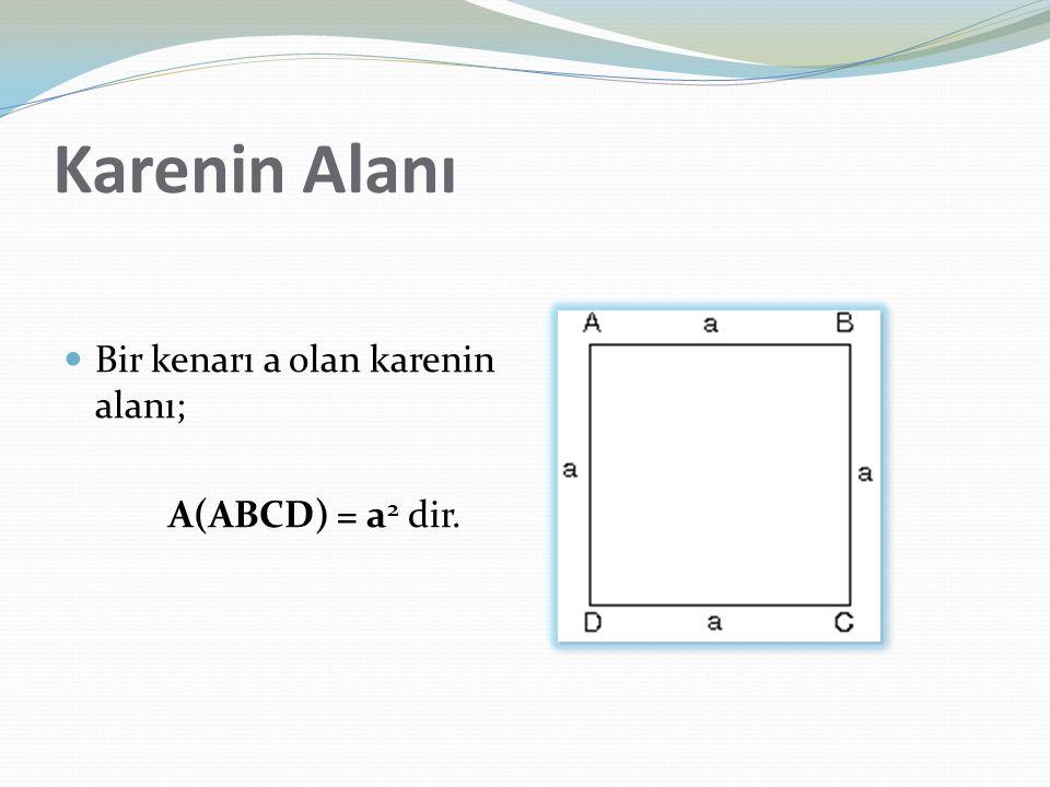 Karenin Alanı Bir kenarı a olan karenin alanı; A(ABCD) = a 2 dir.