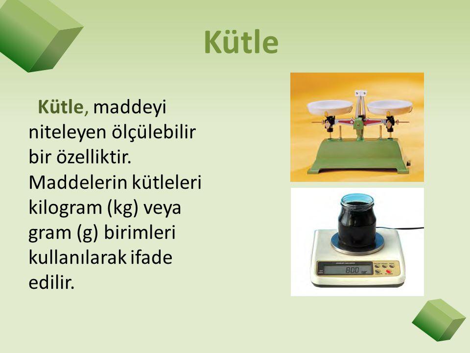 Kütle Kütle, maddeyi niteleyen ölçülebilir bir özelliktir. Maddelerin kütleleri kilogram (kg) veya gram (g) birimleri kullanılarak ifade edilir.