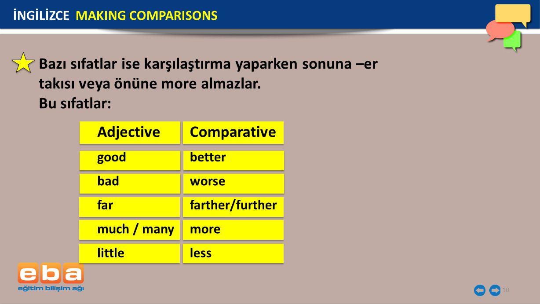 10 Adjective İNGİLİZCE MAKING COMPARISONS Bazı sıfatlar ise karşılaştırma yaparken sonuna –er takısı veya önüne more almazlar. Bu sıfatlar: good bad f