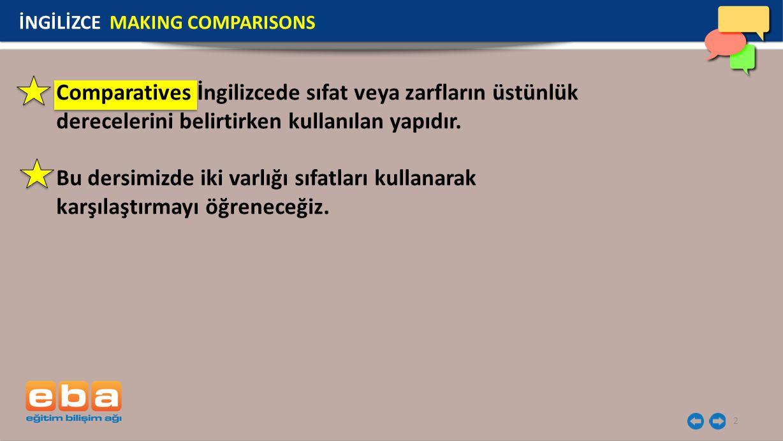 2 Comparatives İngilizcede sıfat veya zarfların üstünlük derecelerini belirtirken kullanılan yapıdır. Bu dersimizde iki varlığı sıfatları kullanarak k