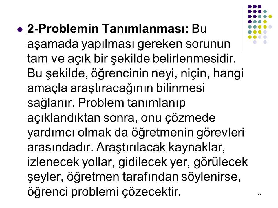 2-Problemin Tanımlanması: Bu aşamada yapılması gereken sorunun tam ve açık bir şekilde belirlenmesidir. Bu şekilde, öğrencinin neyi, niçin, hangi amaç