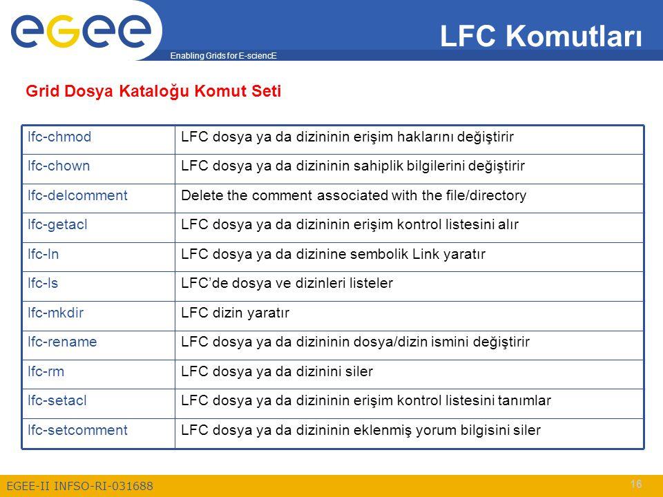 Enabling Grids for E-sciencE EGEE-II INFSO-RI-031688 16 LFC Komutları LFC dosya ya da dizininin eklenmiş yorum bilgisini silerlfc-setcomment LFC dosya ya da dizininin erişim kontrol listesini tanımlarlfc-setacl LFC dosya ya da dizinini silerlfc-rm LFC dosya ya da dizininin dosya/dizin ismini değiştirirlfc-rename LFC dizin yaratırlfc-mkdir LFC'de dosya ve dizinleri listelerlfc-ls LFC dosya ya da dizinine sembolik Link yaratırlfc-ln LFC dosya ya da dizininin erişim kontrol listesini alırlfc-getacl Delete the comment associated with the file/directorylfc-delcomment LFC dosya ya da dizininin sahiplik bilgilerini değiştirirlfc-chown LFC dosya ya da dizininin erişim haklarını değiştirirlfc-chmod Grid Dosya Kataloğu Komut Seti