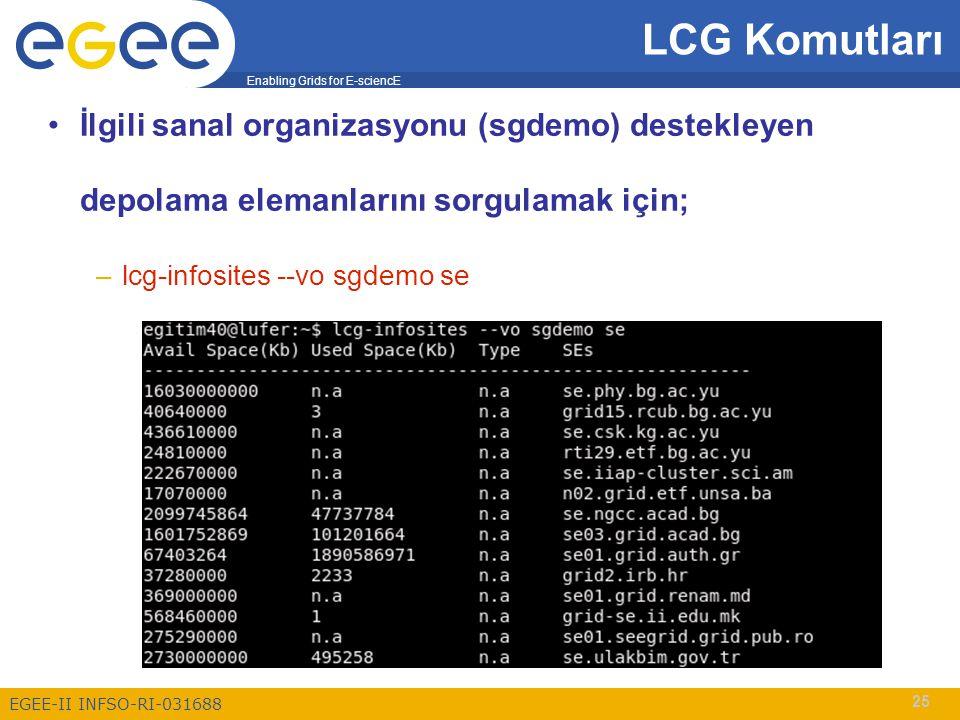 Enabling Grids for E-sciencE EGEE-II INFSO-RI-031688 25 İlgili sanal organizasyonu (sgdemo) destekleyen depolama elemanlarını sorgulamak için; –lcg-infosites --vo sgdemo se LCG Komutları