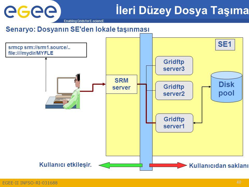 Enabling Grids for E-sciencE EGEE-II INFSO-RI-031688 40 İleri Düzey Dosya Taşıma Senaryo: Dosyanın SE den lokale taşınması Disk pool srmcp srm://srm1.source/..