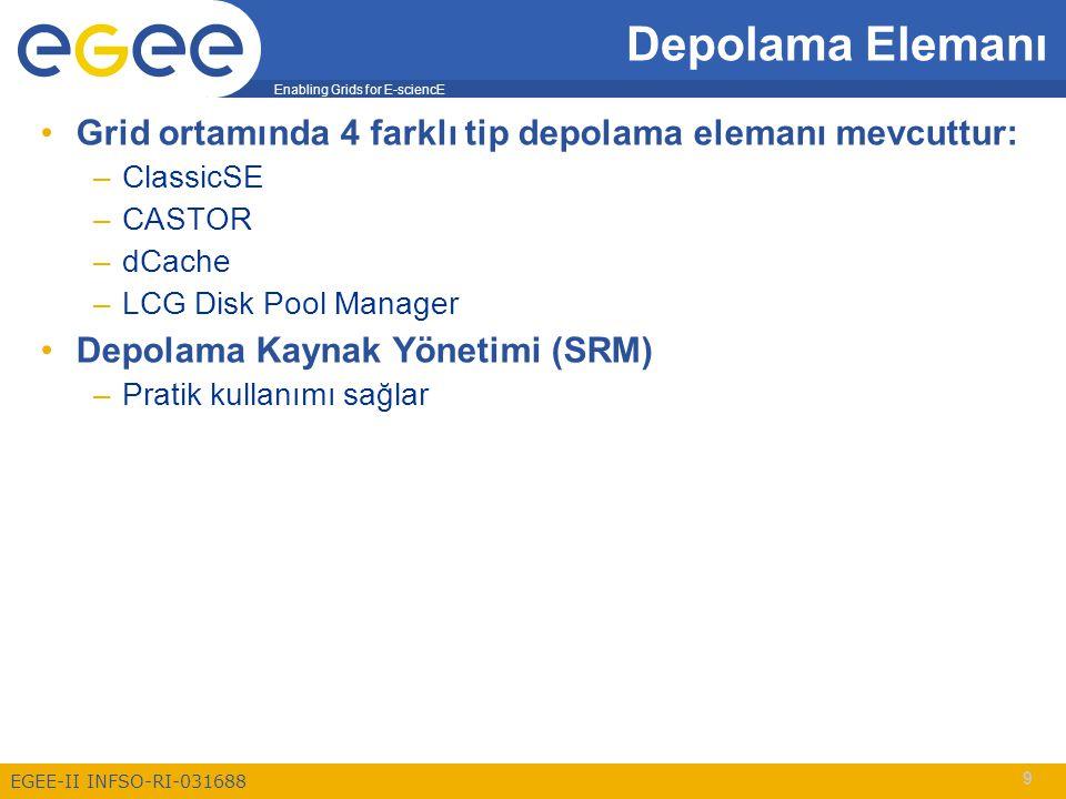 Enabling Grids for E-sciencE EGEE-II INFSO-RI-031688 10 Depolama Elemanı Client User/Application Grid Middleware SRM Castor dCache DPM