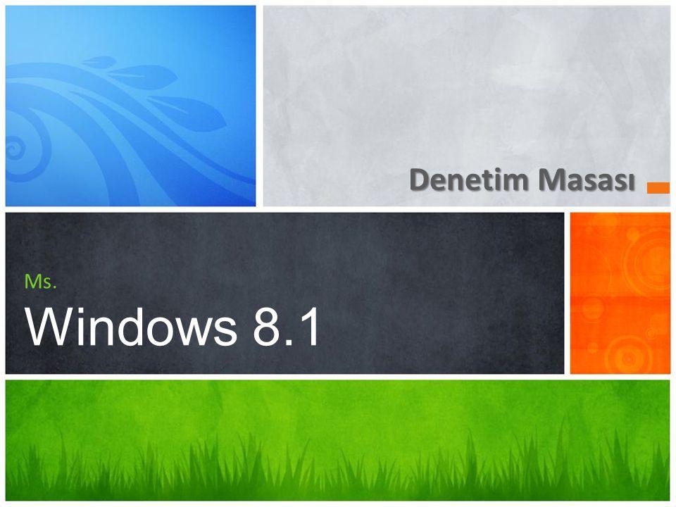 Denetim Masası Ms. Windows 8.1