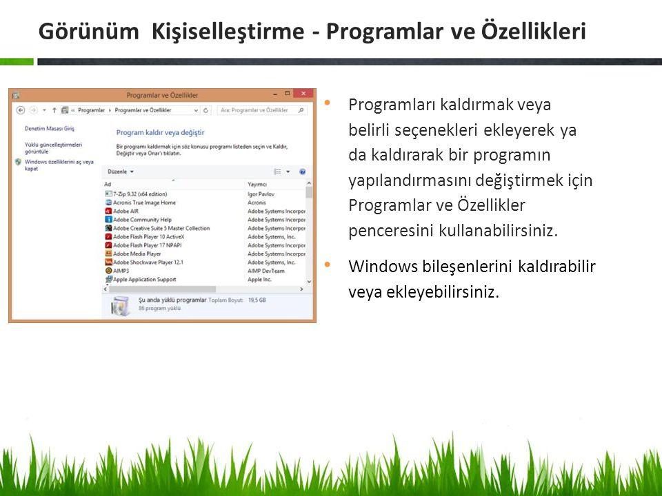 Programları kaldırmak veya belirli seçenekleri ekleyerek ya da kaldırarak bir programın yapılandırmasını değiştirmek için Programlar ve Özellikler pen