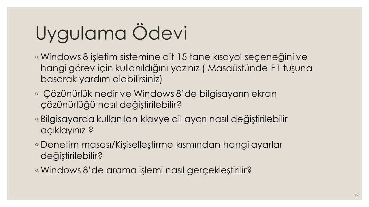Uygulama Ödevi ◦ Windows 8 işletim sistemine ait 15 tane kısayol seçeneğini ve hangi görev için kullanıldığını yazınız ( Masaüstünde F1 tuşuna basarak
