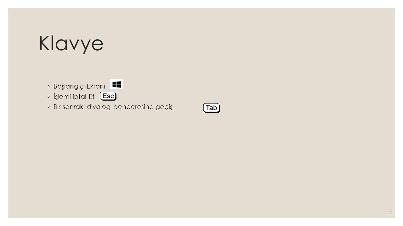 Klavye ◦ Başlangıç Ekranı ◦ İşlemi iptal Et ◦ Bir sonraki diyalog penceresine geçiş 3