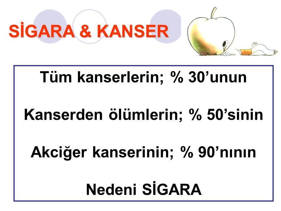 SİGARA & KANSER Tüm kanserlerin; % 30'unun Kanserden ölümlerin; % 50'sinin Akciğer kanserinin; % 90'nının Nedeni SİGARA