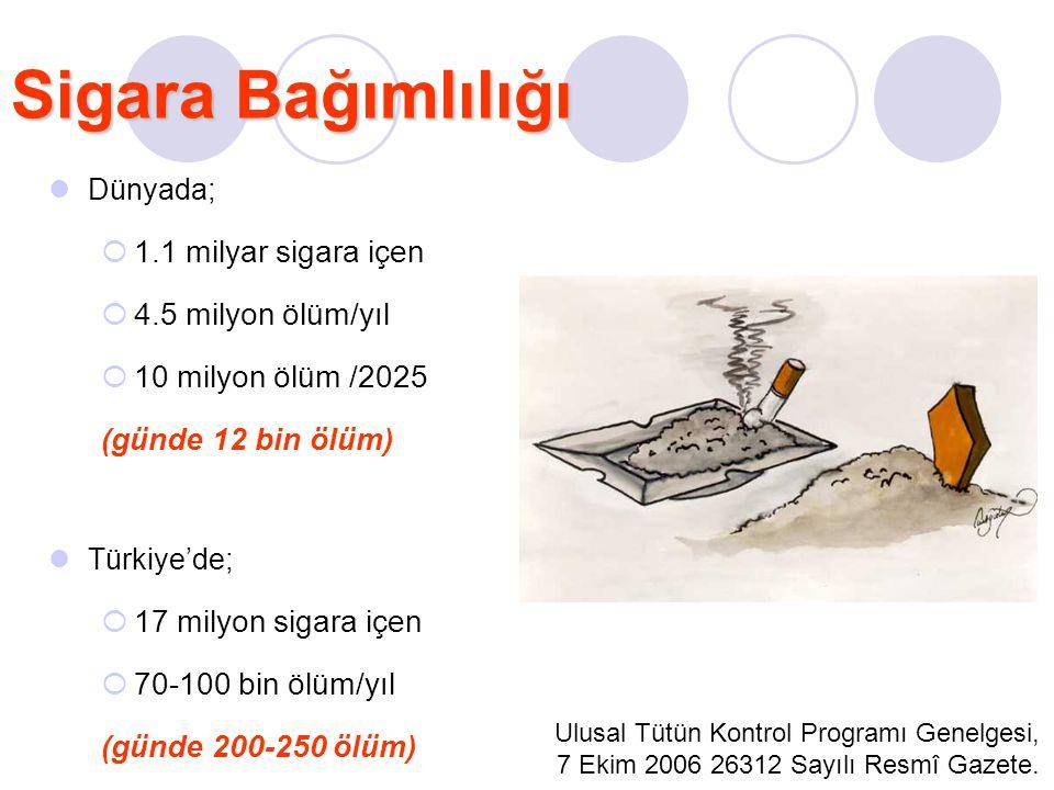 Dünyada;  1.1 milyar sigara içen  4.5 milyon ölüm/yıl  10 milyon ölüm /2025 (günde 12 bin ölüm) Türkiye'de;  17 milyon sigara içen  70-100 bin öl