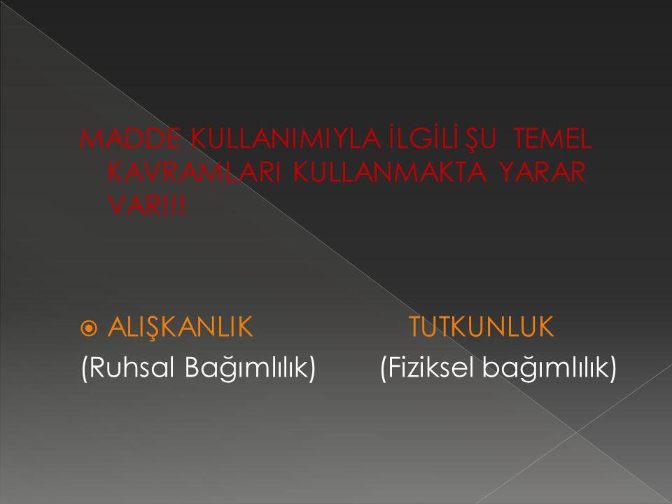 MADDE KULLANIMIYLA İLGİLİ ŞU TEMEL KAVRAMLARI KULLANMAKTA YARAR VAR!!.