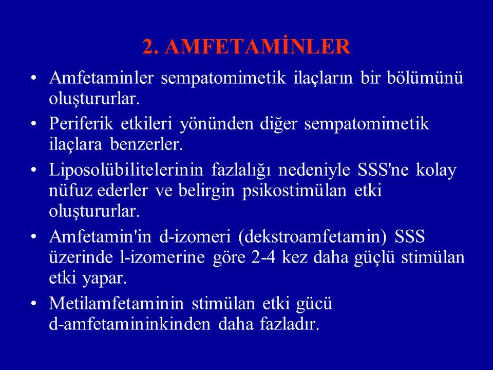 2.AMFETAMİNLER Amfetaminler sempatomimetik ilaçların bir bölümünü oluştururlar.
