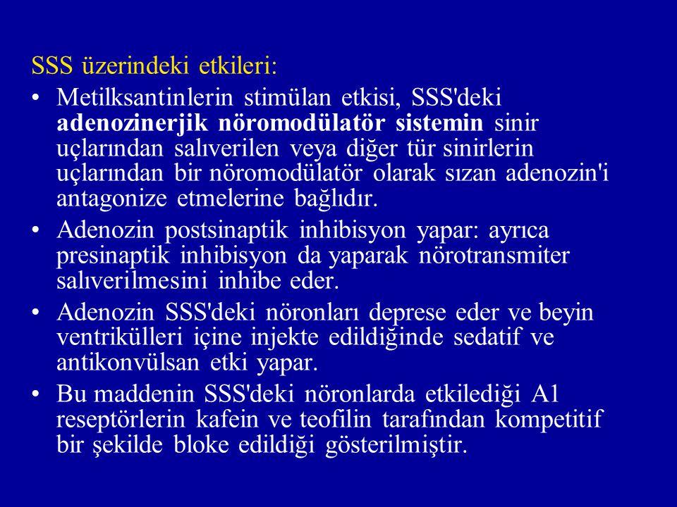 SSS üzerindeki etkileri: Metilksantinlerin stimülan etkisi, SSS deki adenozinerjik nöromodülatör sistemin sinir uçlarından salıverilen veya diğer tür sinirlerin uçlarından bir nöromodülatör olarak sızan adenozin i antagonize etmelerine bağlıdır.