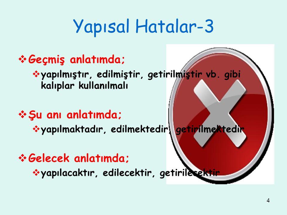 4 Yapısal Hatalar-3  Geçmiş anlatımda;  yapılmıştır, edilmiştir, getirilmiştir vb.