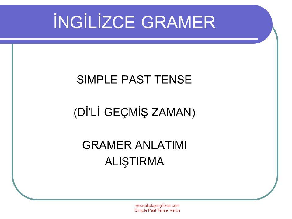 www.ekolayingilizce.com Simple Past Tense Verbs SIMPLE PAST TENSE SIMPLE PAST (+) I went to school yesterday.