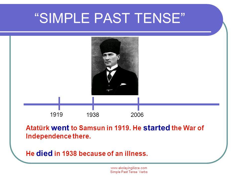 www.ekolayingilizce.com Simple Past Tense Verbs SIMPLE PAST TENSE 2006 1453 Fatih Sultan Mehmet conquered İstanbul in 1453.
