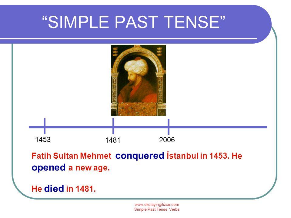 www.ekolayingilizce.com Simple Past Tense Verbs SIMPLE PAST TENSE today 1879 Leonardo Da Vinci lived between 1452 and 1519.