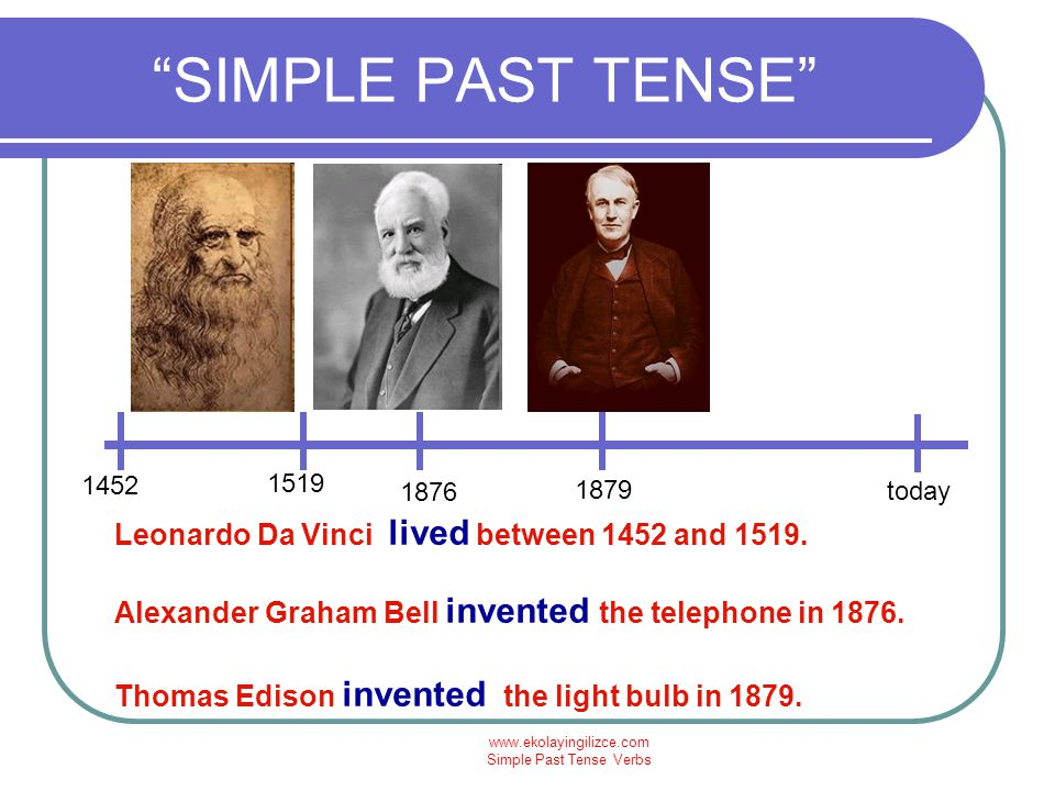 www.ekolayingilizce.com Simple Past Tense Verbs SIMPLE PAST TENSE today 1986 Wright Brothers invented the first plane in 1903.