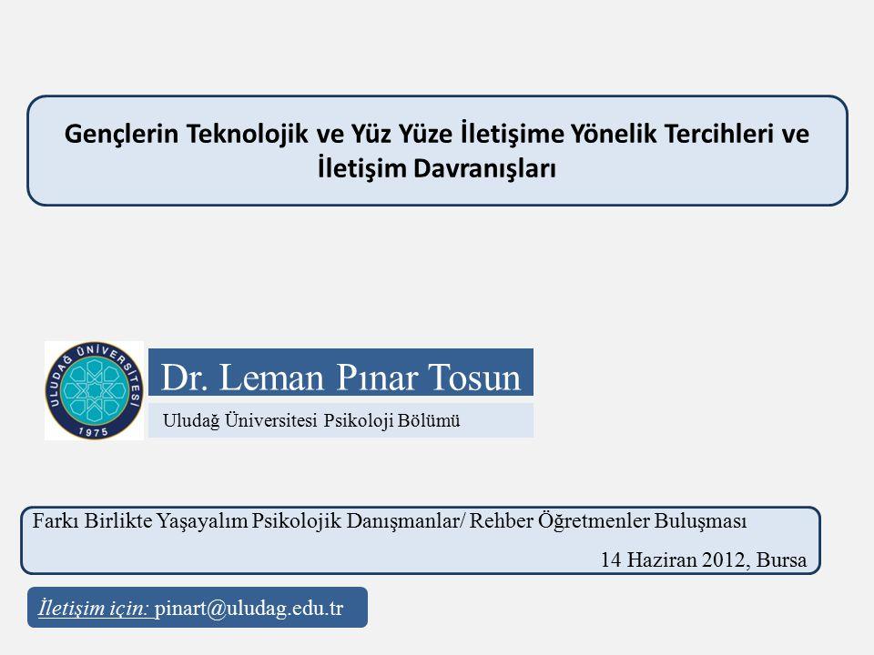 Dr. Leman Pınar Tosun Gençlerin Teknolojik ve Yüz Yüze İletişime Yönelik Tercihleri ve İletişim Davranışları Farkı Birlikte Yaşayalım Psikolojik Danış