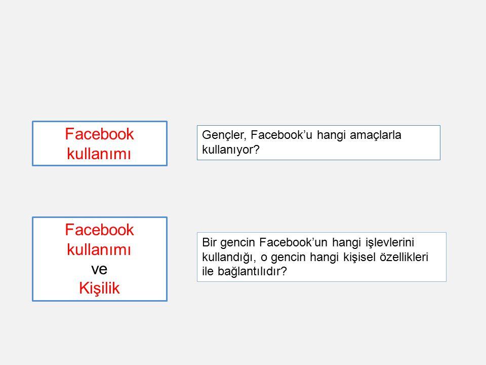 Bir gencin Facebook'un hangi işlevlerini kullandığı, o gencin hangi kişisel özellikleri ile bağlantılıdır? Facebook kullanımı ve Kişilik Gençler, Face