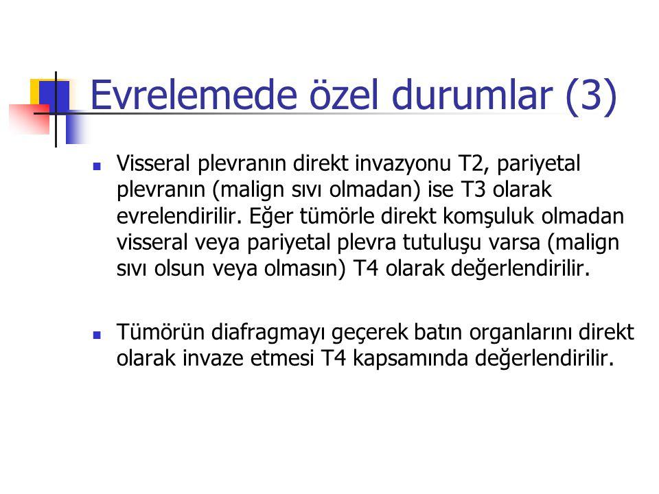 Evrelemede özel durumlar (3) Visseral plevranın direkt invazyonu T2, pariyetal plevranın (malign sıvı olmadan) ise T3 olarak evrelendirilir. Eğer tümö
