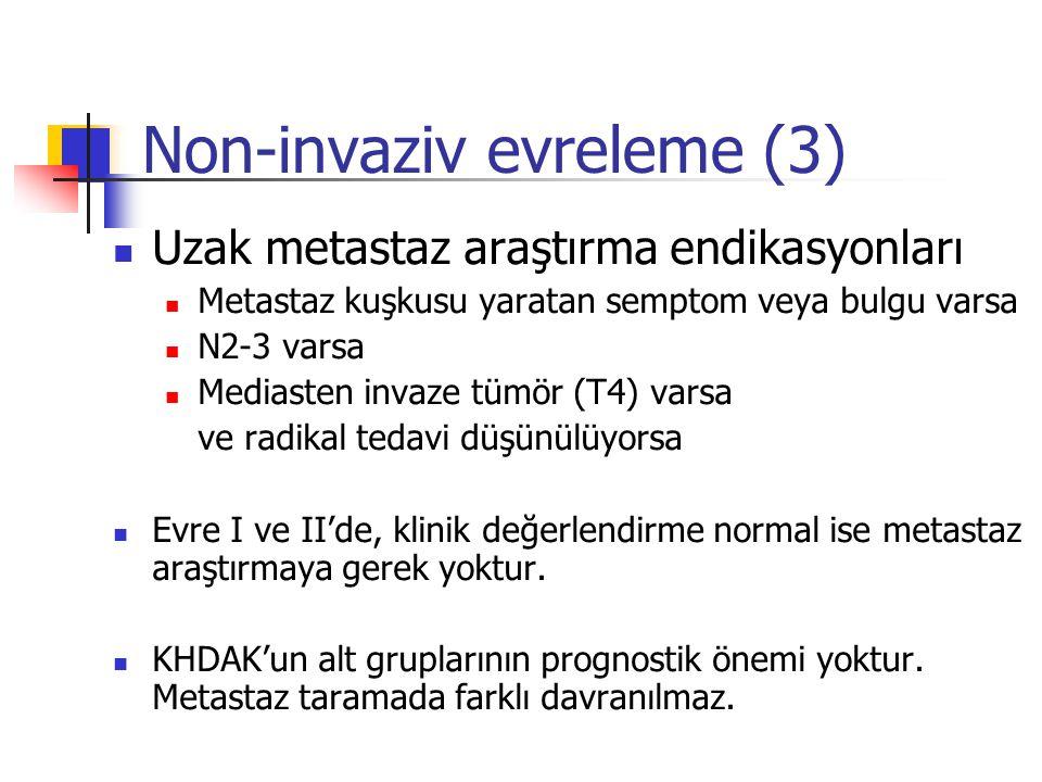 Non-invaziv evreleme (3) Uzak metastaz araştırma endikasyonları Metastaz kuşkusu yaratan semptom veya bulgu varsa N2-3 varsa Mediasten invaze tümör (T