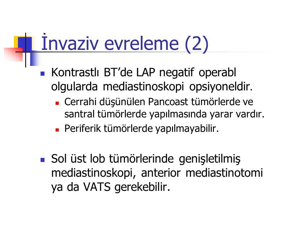 Kontrastlı BT'de LAP negatif operabl olgularda mediastinoskopi opsiyoneldir. Cerrahi düşünülen Pancoast tümörlerde ve santral tümörlerde yapılmasında