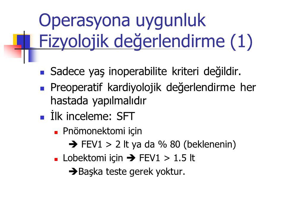 Operasyona uygunluk Fizyolojik değerlendirme (1) Sadece yaş inoperabilite kriteri değildir. Preoperatif kardiyolojik değerlendirme her hastada yapılma