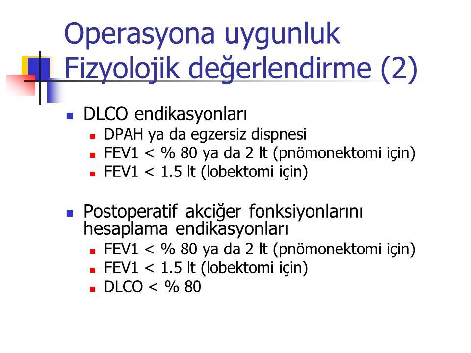 Operasyona uygunluk Fizyolojik değerlendirme (2) DLCO endikasyonları DPAH ya da egzersiz dispnesi FEV1 < % 80 ya da 2 lt (pnömonektomi için) FEV1 < 1.
