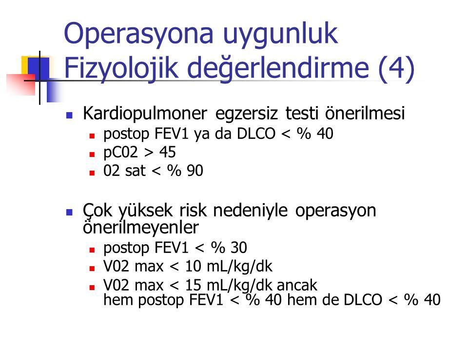 Operasyona uygunluk Fizyolojik değerlendirme (4) Kardiopulmoner egzersiz testi önerilmesi postop FEV1 ya da DLCO < % 40 pC02 > 45 02 sat < % 90 Çok yü