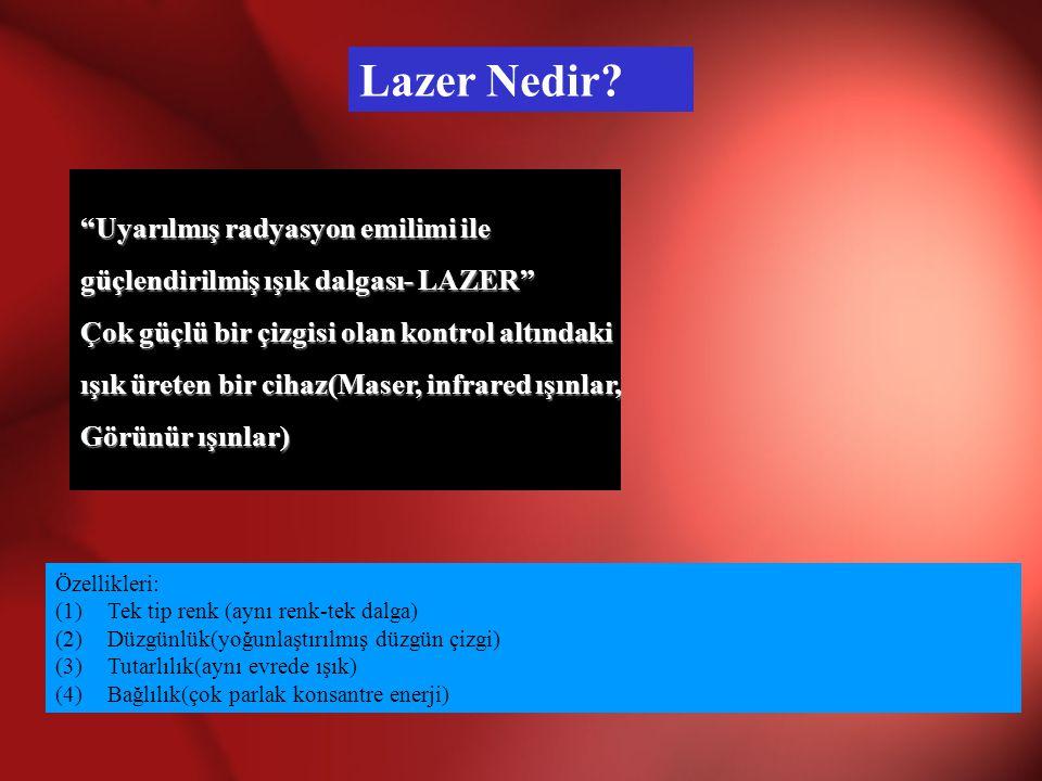Uyarılmış radyasyon emilimi ile güçlendirilmiş ışık dalgası- LAZER Çok güçlü bir çizgisi olan kontrol altındaki ışık üreten bir cihaz(Maser, infrared ışınlar, Görünür ışınlar) Lazer Nedir.