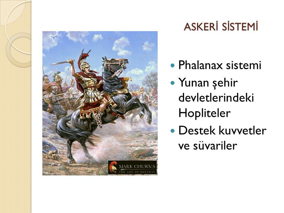 ASKER İ S İ STEM İ ASKER İ S İ STEM İ Phalanax sistemi Yunan şehir devletlerindeki Hopliteler Destek kuvvetler ve süvariler