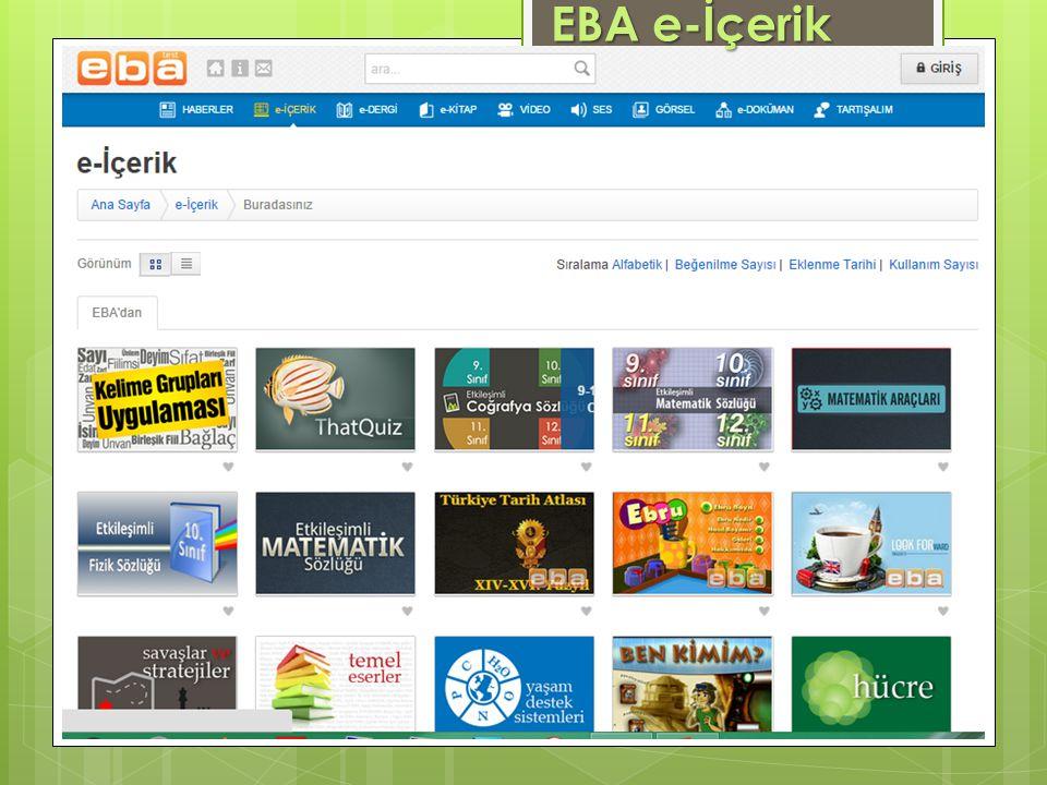 www.eba.gov.tr EBA e-İçerik