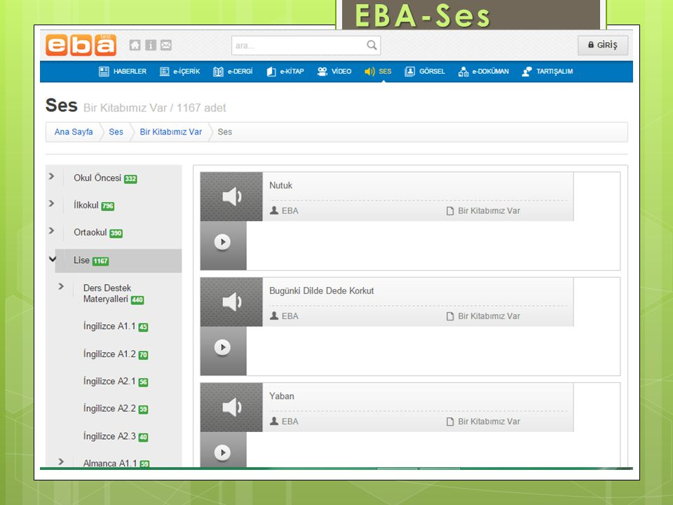 www.eba.gov.tr EBA-Ses