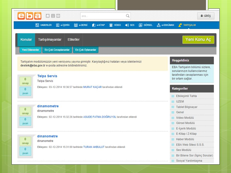  Bu site Eğitim Bilişim Ağı tarafından dünyada kullanılan eğitsel metaryelleri sunma amacıyla hazırlanmıştır.