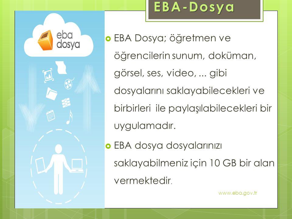  EBA Dosya; öğretmen ve öğrencilerin sunum, doküman, görsel, ses, video,... gibi dosyalarını saklayabilecekleri ve birbirleri ile paylaşılabilecekler