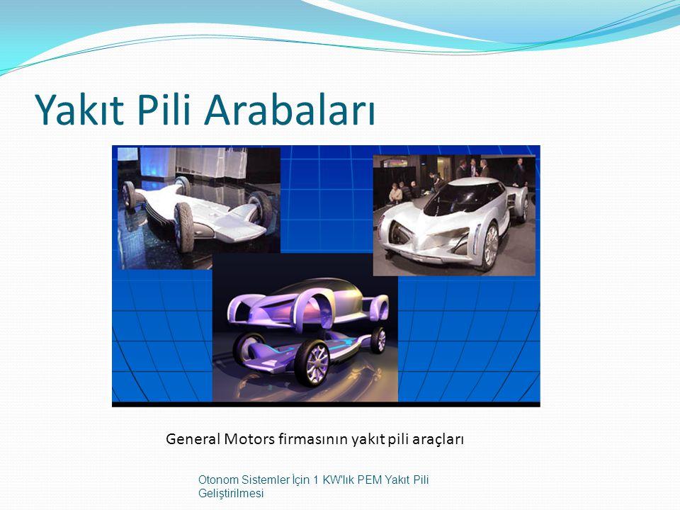 Yakıt Pili Arabaları General Motors firmasının yakıt pili araçları Otonom Sistemler İçin 1 KW'lık PEM Yakıt Pili Geliştirilmesi