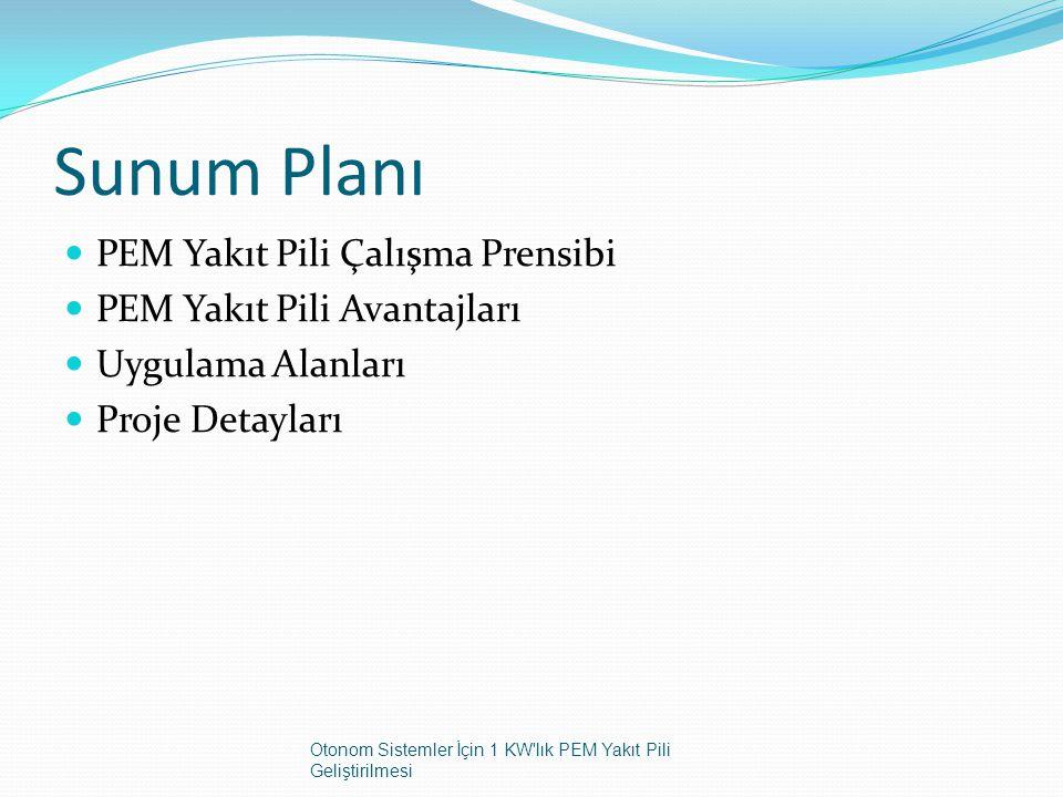Sunum Planı PEM Yakıt Pili Çalışma Prensibi PEM Yakıt Pili Avantajları Uygulama Alanları Proje Detayları Otonom Sistemler İçin 1 KW'lık PEM Yakıt Pili