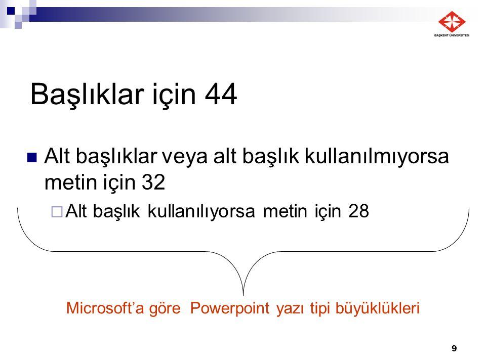 9 Başlıklar için 44 Alt başlıklar veya alt başlık kullanılmıyorsa metin için 32  Alt başlık kullanılıyorsa metin için 28 Microsoft'a göre Powerpoint