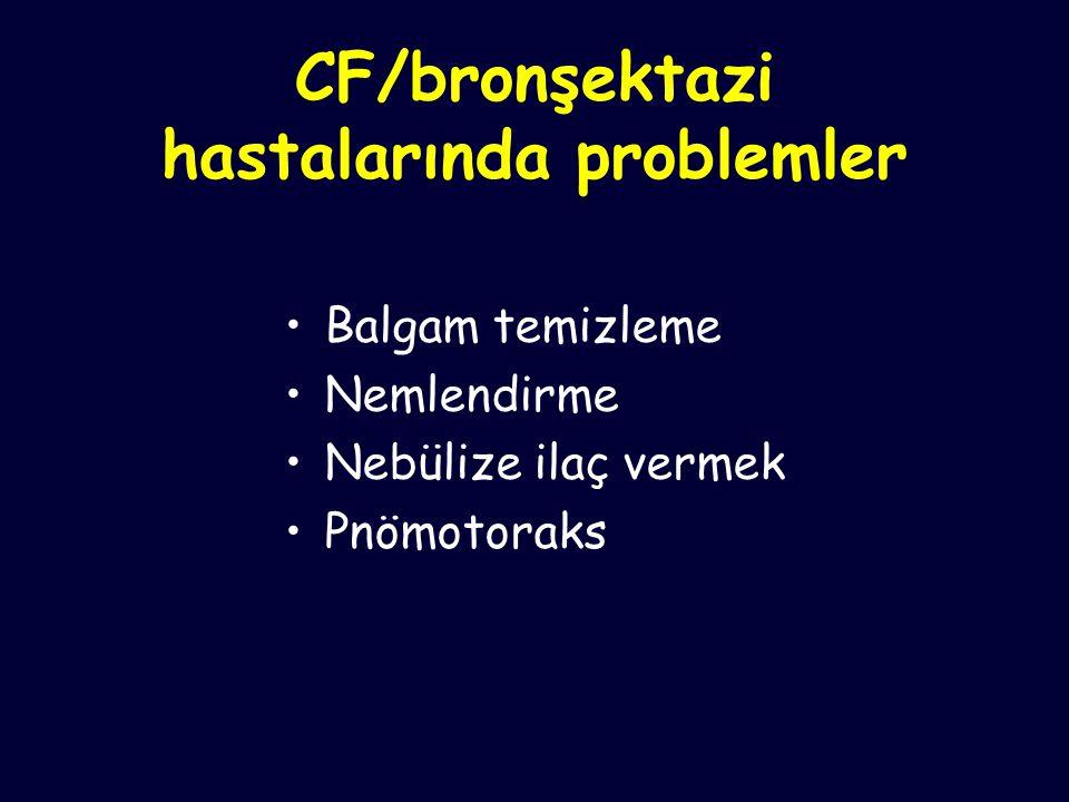 CF/bronşektazi hastalarında problemler Balgam temizleme Nemlendirme Nebülize ilaç vermek Pnömotoraks