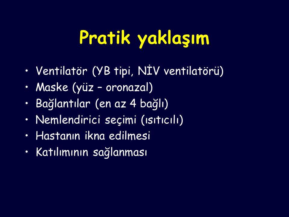 Pratik yaklaşım Ventilatör (YB tipi, NİV ventilatörü) Maske (yüz – oronazal) Bağlantılar (en az 4 bağlı) Nemlendirici seçimi (ısıtıcılı) Hastanın ikna