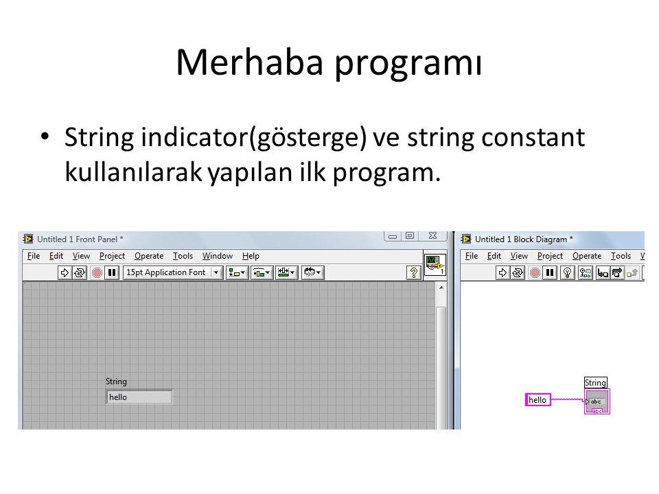 Merhaba programı String indicator(gösterge) ve string constant kullanılarak yapılan ilk program.