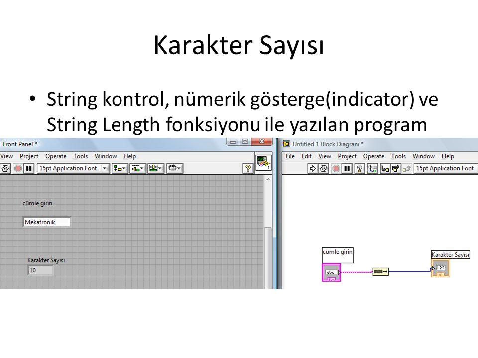 Karakter Sayısı String kontrol, nümerik gösterge(indicator) ve String Length fonksiyonu ile yazılan program