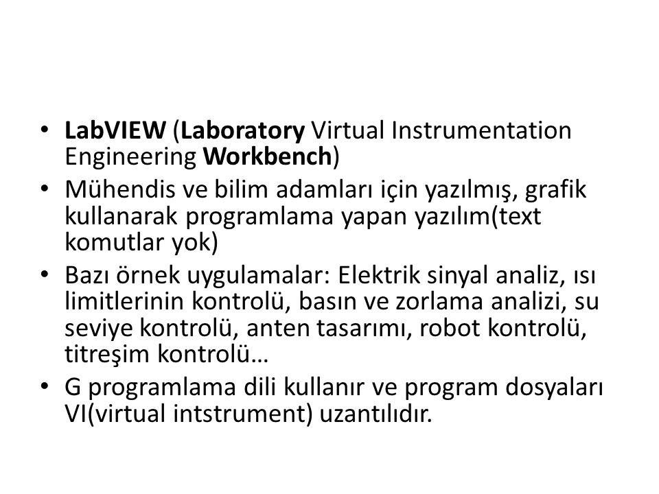 LabVIEW (Laboratory Virtual Instrumentation Engineering Workbench) Mühendis ve bilim adamları için yazılmış, grafik kullanarak programlama yapan yazıl