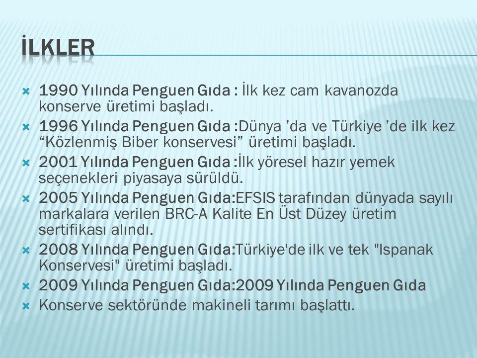 """ 1990 Yılında Penguen Gıda : İlk kez cam kavanozda konserve üretimi başladı.  1996 Yılında Penguen Gıda :Dünya 'da ve Türkiye 'de ilk kez """"Közlenmiş"""