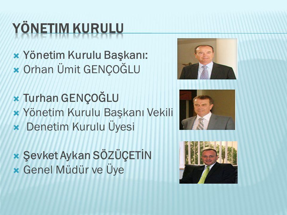  Yönetim Kurulu Başkanı:  Orhan Ümit GENÇOĞLU  Turhan GENÇOĞLU  Yönetim Kurulu Başkanı Vekili  Denetim Kurulu Üyesi  Şevket Aykan SÖZÜÇETİN  Ge